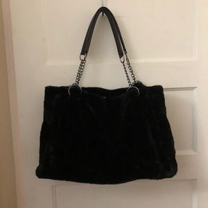 Womens Large Black Faux Fur Purse. BRAND NEW